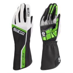 Състезателни ръкавици Sparco Track KG-3 (вътрешни шевове) зелен/бял