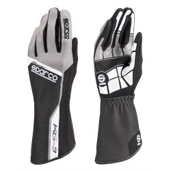 Състезателни ръкавици Sparco Track KG-3 (вътрешни шевове) черен/ сив