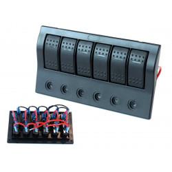 Водоустойчив панел с 6 Carling Rocker превключватели (IP68)
