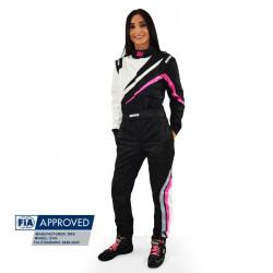 FIA състезателен гащеризон RRS EVO Dynamic черен/ розов