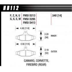 Задни накладки Hawk HB112S.540, Street performance, min-max 65°C-370°