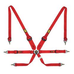 FIA 6 точкови предпазни колани OMP One 3+2 CONVERTIBLE червени