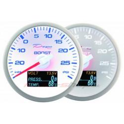 Датчик DEPO 4v1 60mm бял – Турбо налягане + Налягане на маслото+ Температура на маслото + Волтметър