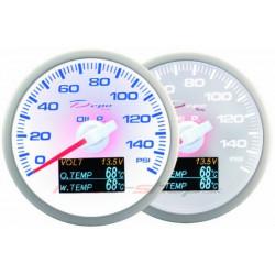 Датчик DEPO 4v1 60mm бял – Налягане на маслото+ Температура на маслото + Температура на водата+ Волтметър